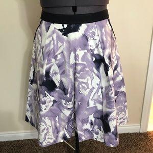 NWOT Ellen Tracy A-Line Skirt, Lilac/White, 10